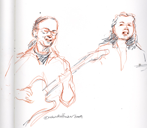 Bob Guida Tribute, 09.13.09 Drawing copyright Robin Hoffman, 2009