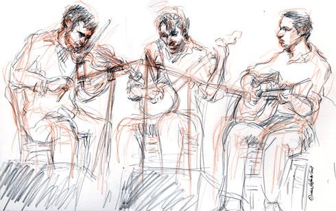 The Dustbusters on 12.27.09. Craig Judelman and Eli Smith with Jack Byrne, <b>buy Meclizine no prescription</b>.  <b>Meclizine price, coupon</b>, Drawing by and &copy; Robin Hoffman, 2009