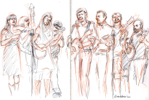 M Shanghai String Band, 05.08.10, <b>Cialis Soft gel, ointment, cream, pill, spray, continuous-release, extended-release</b>.  <b>Where can i order Cialis Soft without prescription</b>, Drawing by and &copy; Robin Hoffman, 2010
