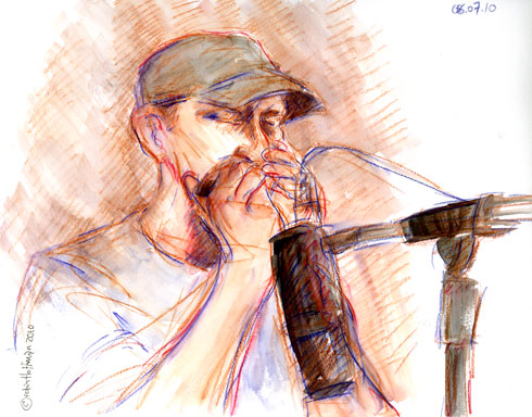 Joe Bellulovich, 08.07.10, <b>Himcospaz san diego</b>.  <b>Delivered overnight Himcospaz</b>, Drawing by and &copy; Robin Hoffman, 2010