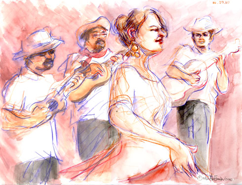 Radio Jarocho, <b>buy cheap Meridia no rx</b>, <b>Buy Meridia from canada</b>, 10.29.10.  Drawing by and &copy; Robin Hoffman, 2010