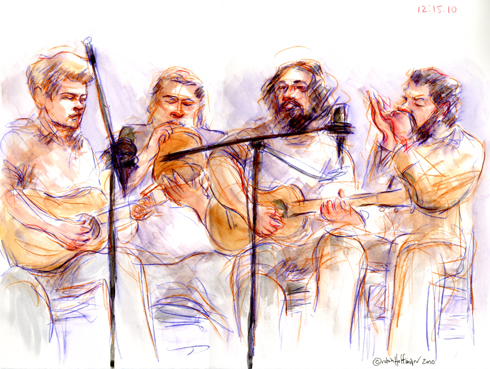 Ernie Vega and Band, 12.15.10. Drawing by and © Robin Hoffman, 2010
