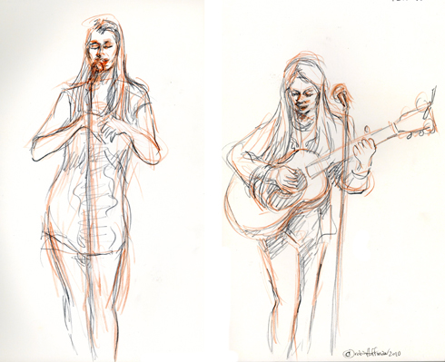 Katryna Nields and Nerissa Nields, 12.10.10. Drawing by and © Robin Hoffman, 2010