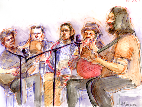 The Brotherhood of the Jug Band Blues, 02.22.11. Drawing by and © Robin Hoffman, 2011