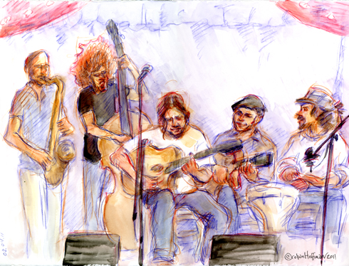 Stephane Wrembel and band, 03.04.11. Drawing by and © Robin Hoffman, 2011