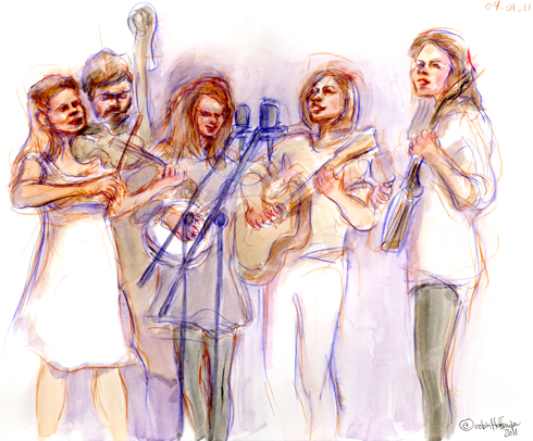 The Calamity Janes, 04.01.11. Drawing by and © Robin Hoffman, 2011