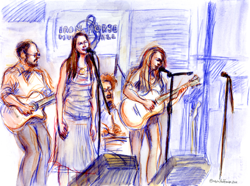 The Nields, 10.08.11. Drawing by and © Robin Hoffman, 2011