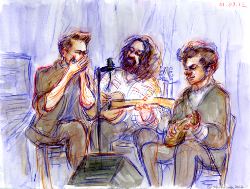 Trip Henderson, Ernie Vega, and Jackson Lynch on 01.07.12. Drawing by and © Robin Hoffman, 2012
