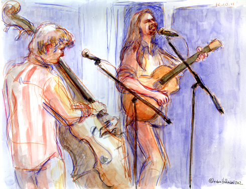 Larry Cook and Will Scott, 12.10.11. Drawing by and © Robin Hoffman, 2012