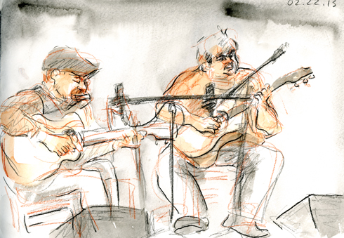 Joe Bellulovich and Pat Conte, 02.22.13. Drawing bu And © Robin Hoffman, 2013