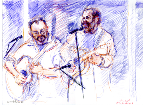 David Chalfant and Ben Demerath, 03.22.14. Drawing by and © Robin