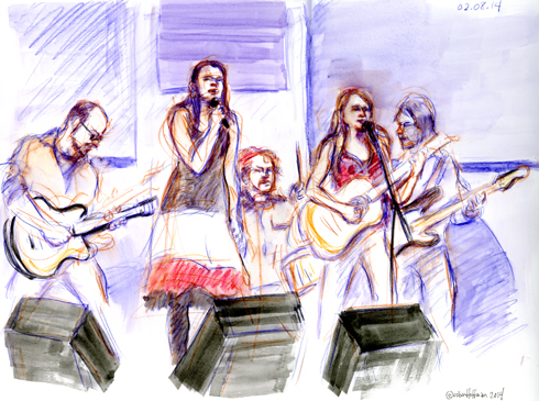The Nields, 02.08.14. Drawing by and © Robin Hoffman, 2014
