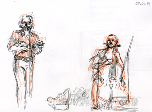 James Hill and Ann Janelle, 09.01.13. Drawing by and © Robin Hoffman, 2013